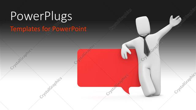 powerpoint template: 3d person standing with speech bubble in red, Powerpoint templates