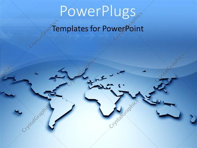 powerpoint template d relief world map with arrows and waves in, Powerpoint