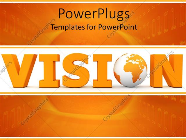 powerpoint template: 3d vision word with globe instead of o letter, Presentation templates