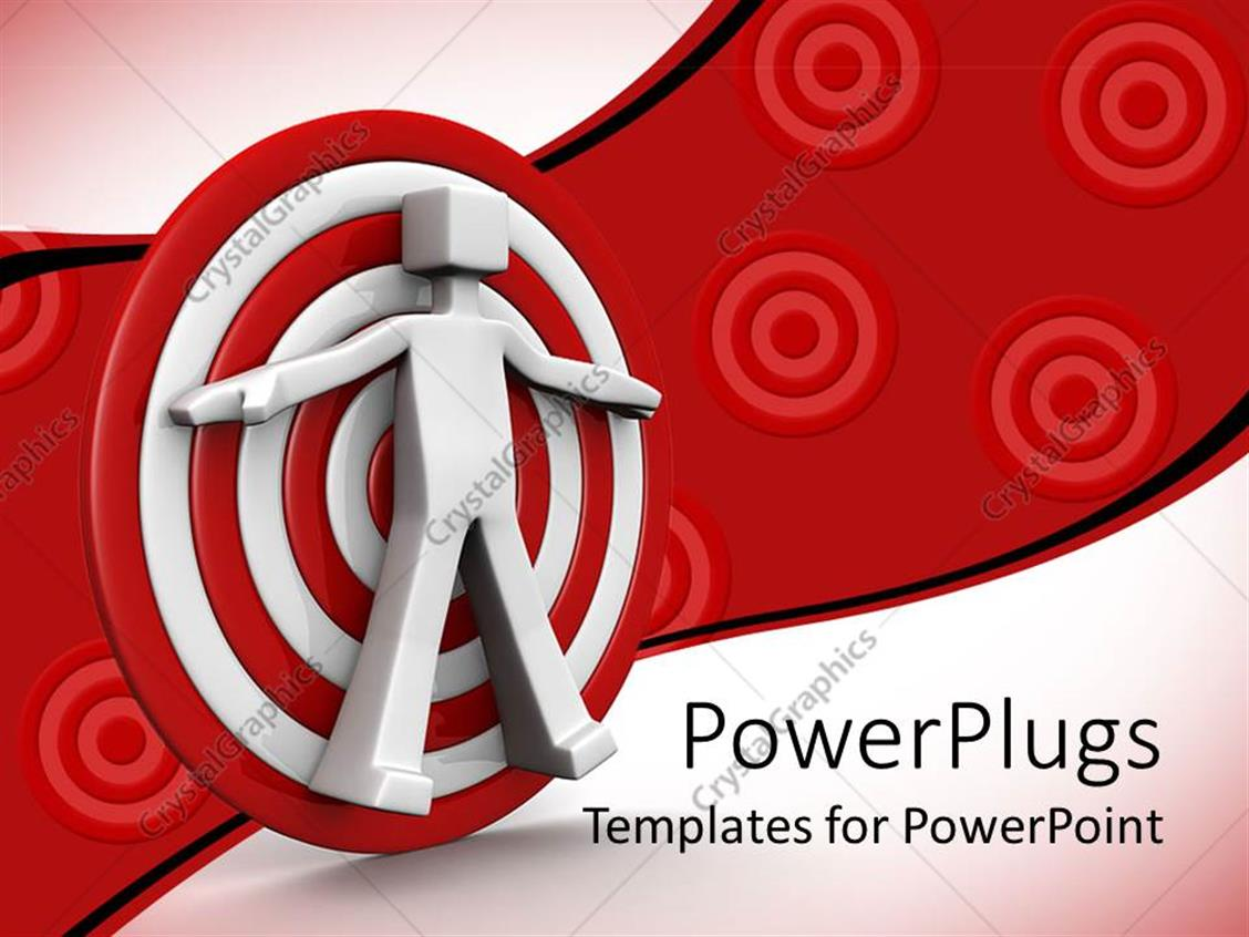PowerPoint Template Displaying 3D White Figure Standing Against White and Red Target with Targets on Red Background