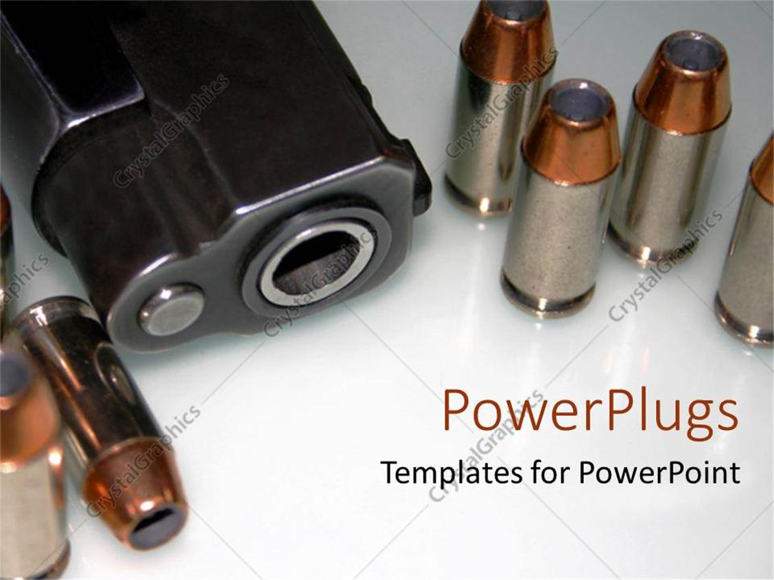 PowerPoint Template Displaying 5 Bullets with a Black Pistol
