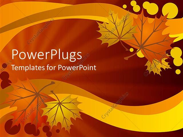 powerpoint template: abstract autumn leaves on warm background (2354), Powerpoint templates