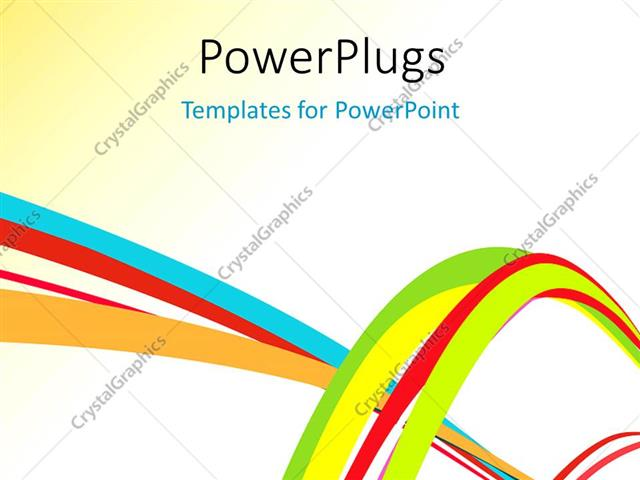 powerpoint template: abstract colorful creative rainbow wave line, Modern powerpoint