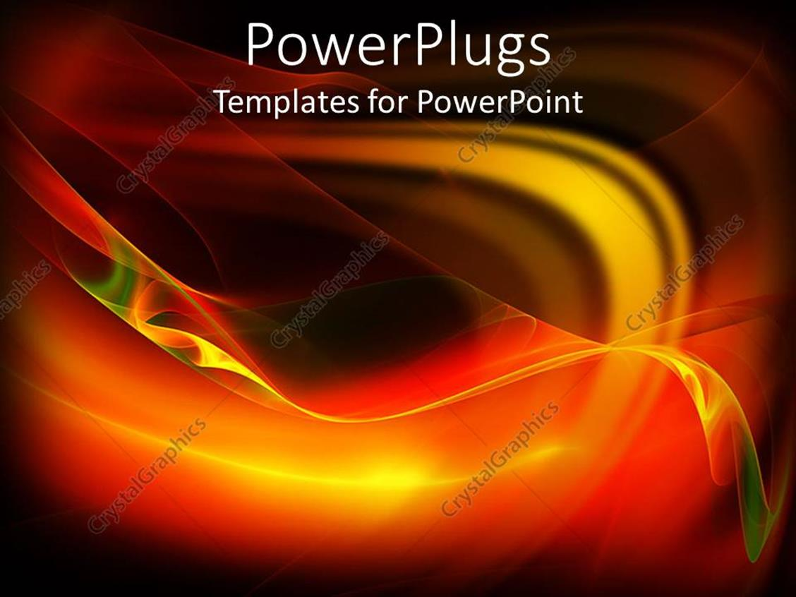 PowerPoint Template Displaying Abstract Depiction of Multi Colored Fiery Waves on a Black Background