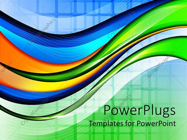 powerpoint template: abstract wave and grid background in green, Modern powerpoint