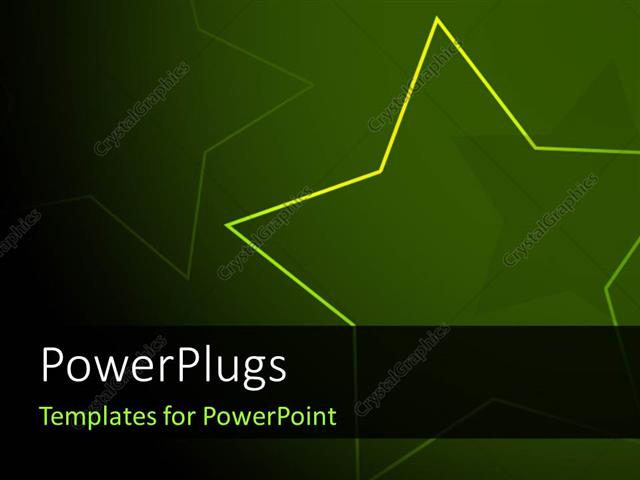 powerpoint template: abstract yellow star over green background, Modern powerpoint
