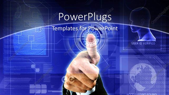 powerpoint template: depiction of biometric security with thumb, Powerpoint templates