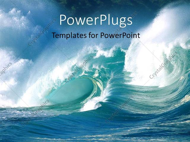 powerpoint template an action shot of ocean waves crashing, Templates