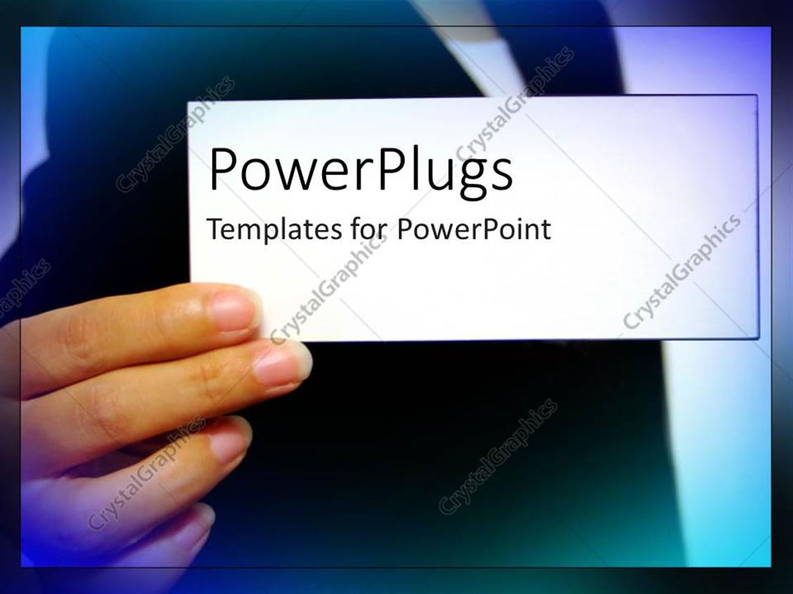 Powerpoint template an adult hand holding a plain white for Business card powerpoint template