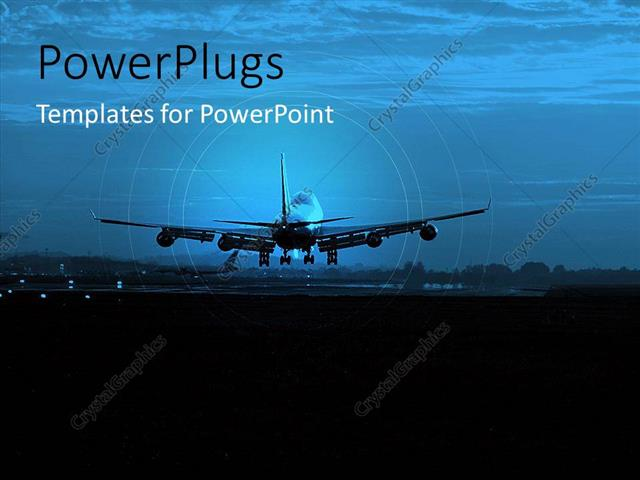 powerpoint template: an airplane going to land on a runway with, Modern powerpoint