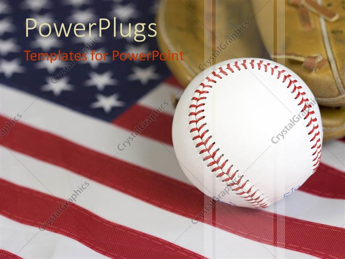 powerpoint template american baseball theme baseball ball and glove on united states of. Black Bedroom Furniture Sets. Home Design Ideas