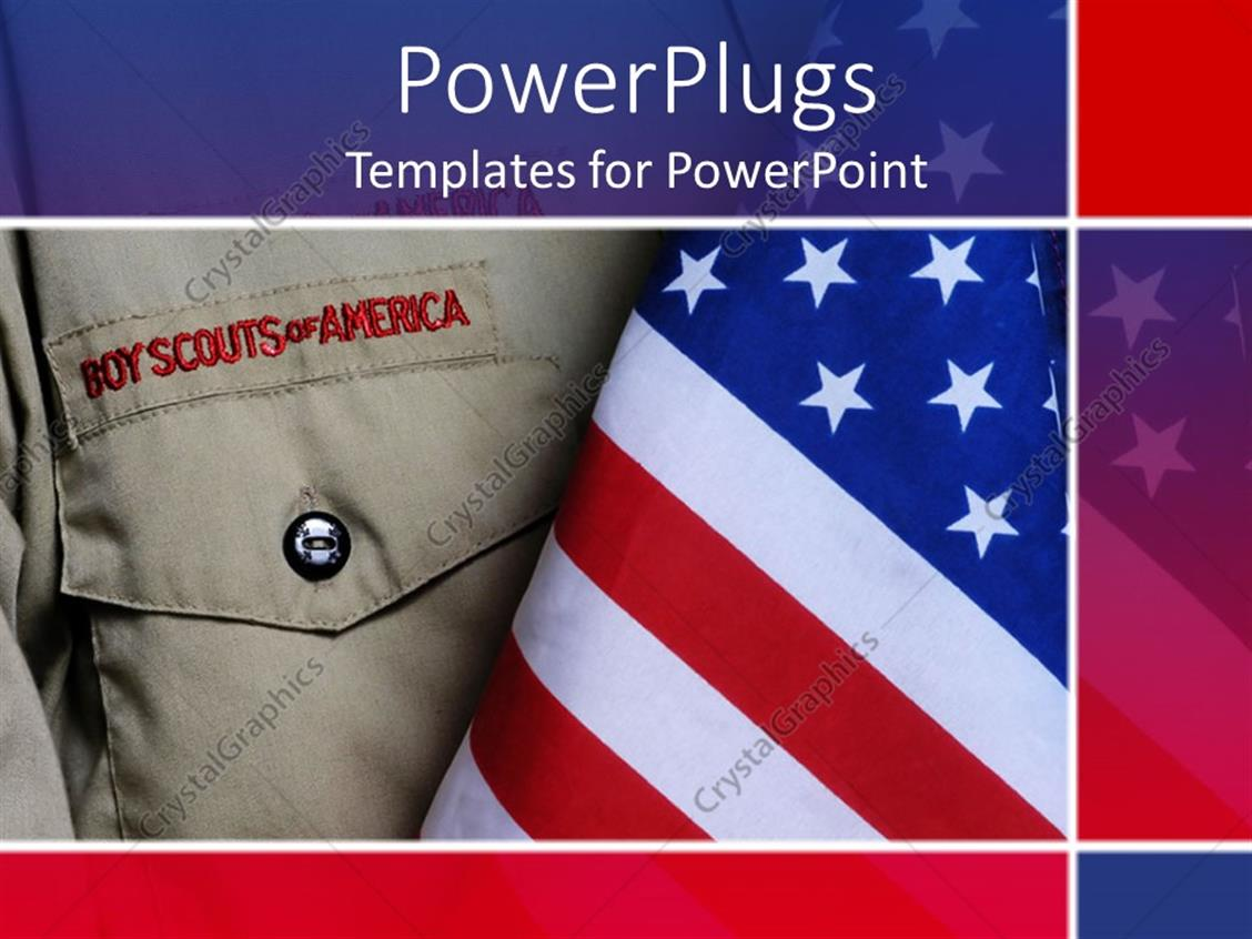 boy scout powerpoint template - powerpoint template an american boy scouts outfit along