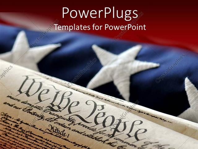 PowerPoint Template Displaying an American Flag in the Background while the Constitution in the Front