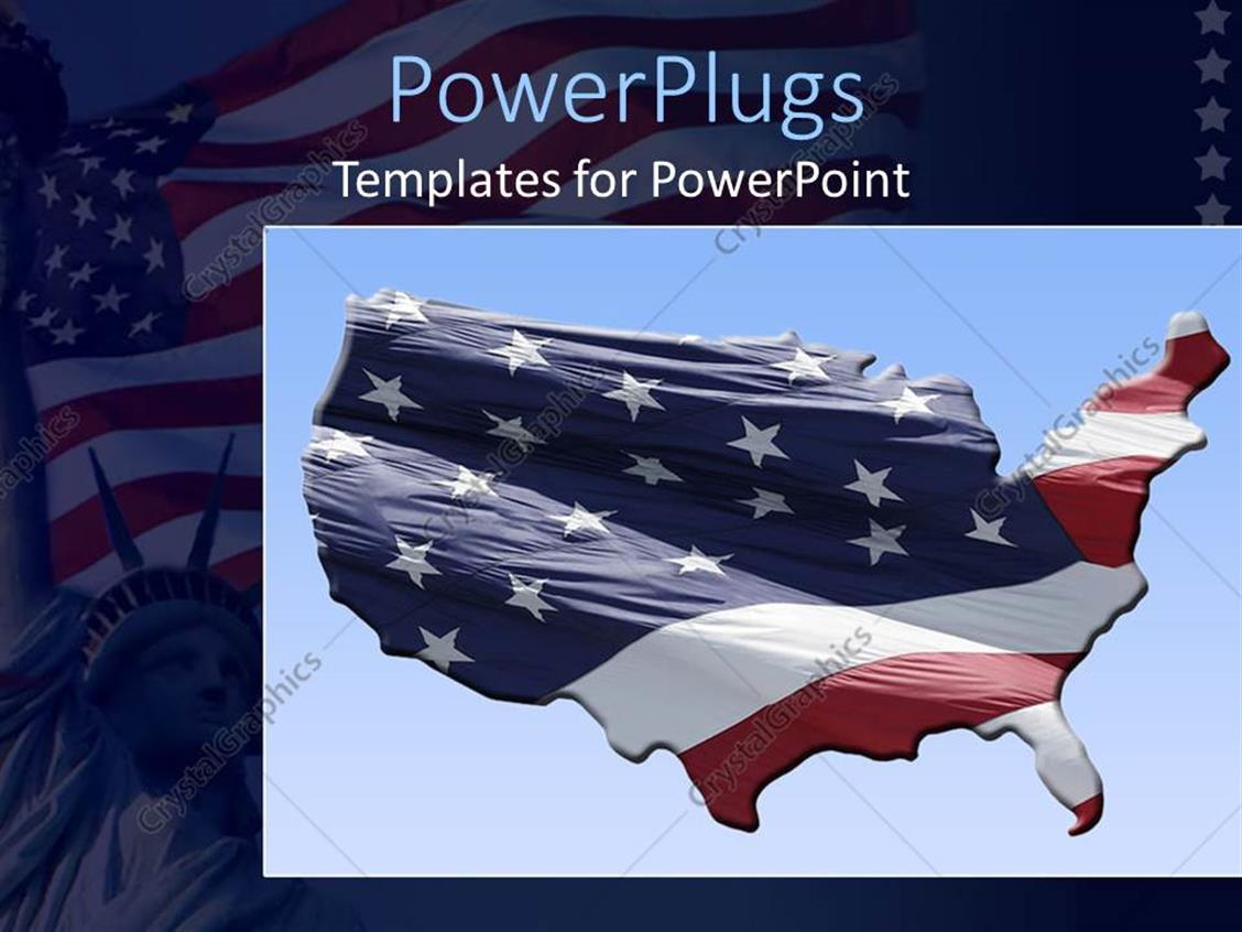 PowerPoint Template Displaying an American Flag with the Shadow in the Background