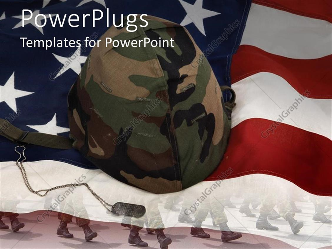 powerpoint template an american flag with a soldier 39 s helmet 30623. Black Bedroom Furniture Sets. Home Design Ideas
