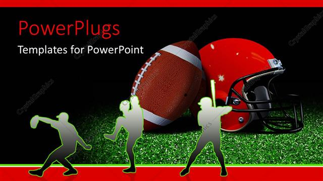 Powerpoint Template Silhouette Of American Football Players With