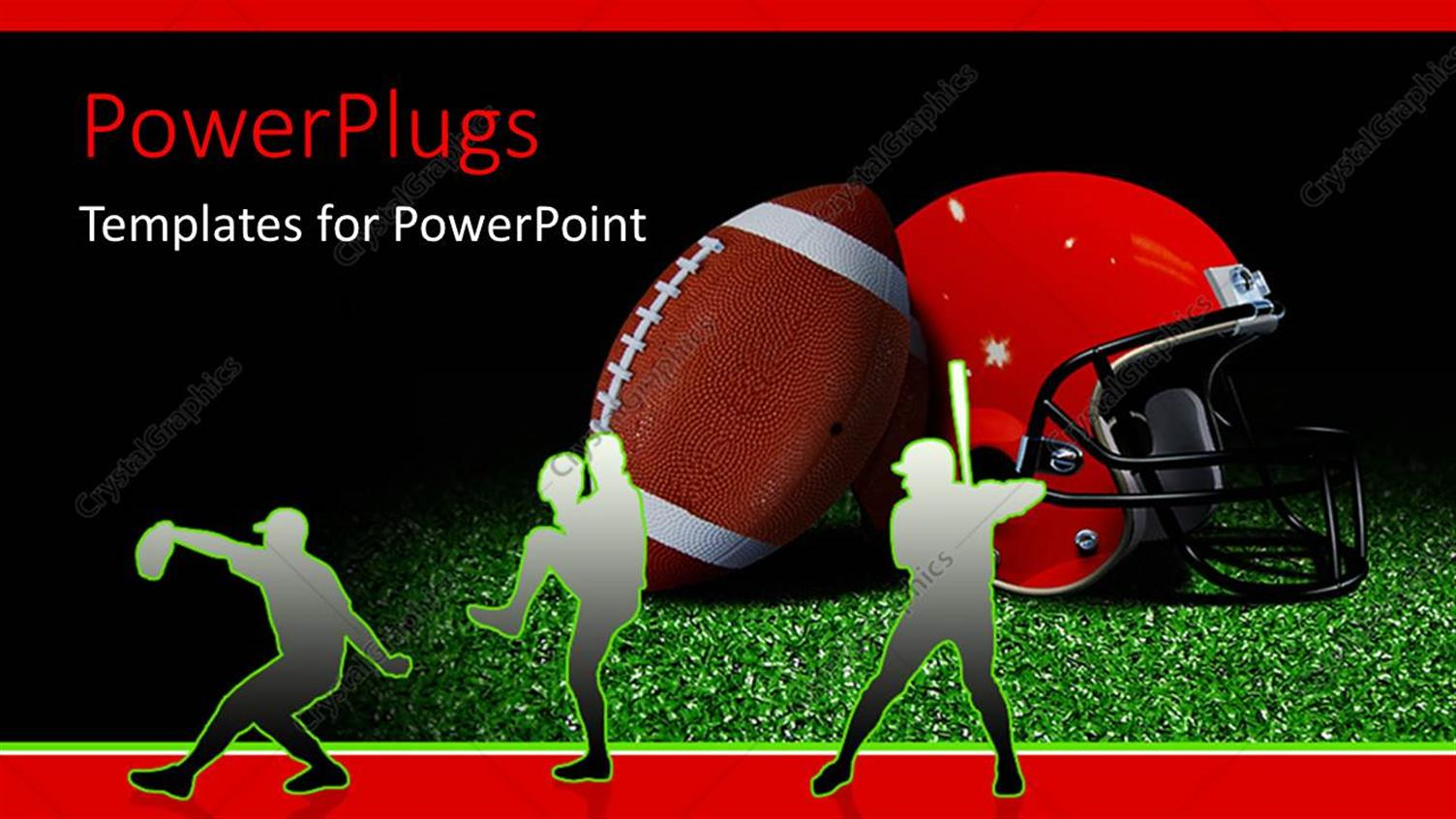 powerpoint template silhouette of american football players with helmet and ball on field 1628. Black Bedroom Furniture Sets. Home Design Ideas