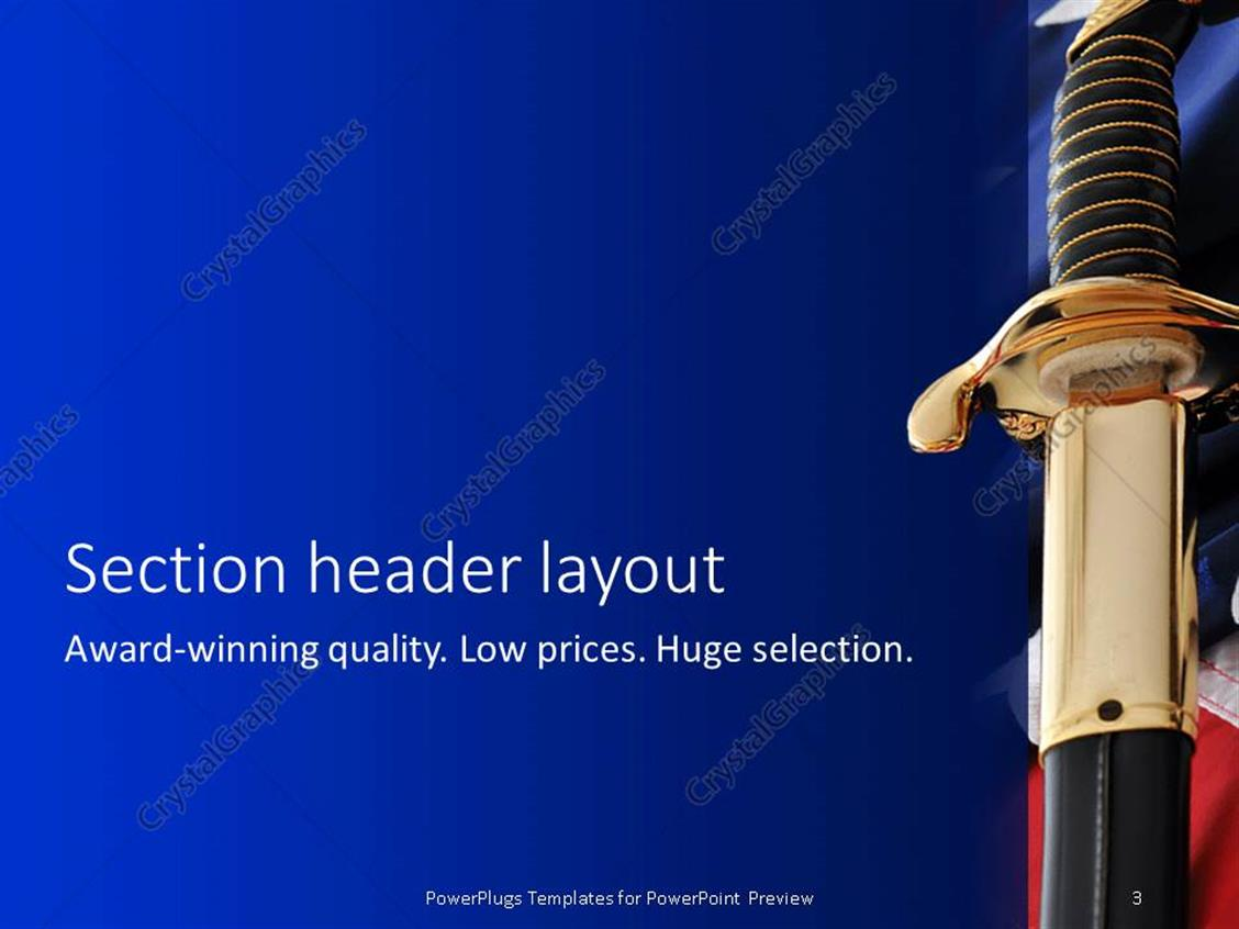 powerpoint template: an american soldier's sword with flag in the, Modern powerpoint
