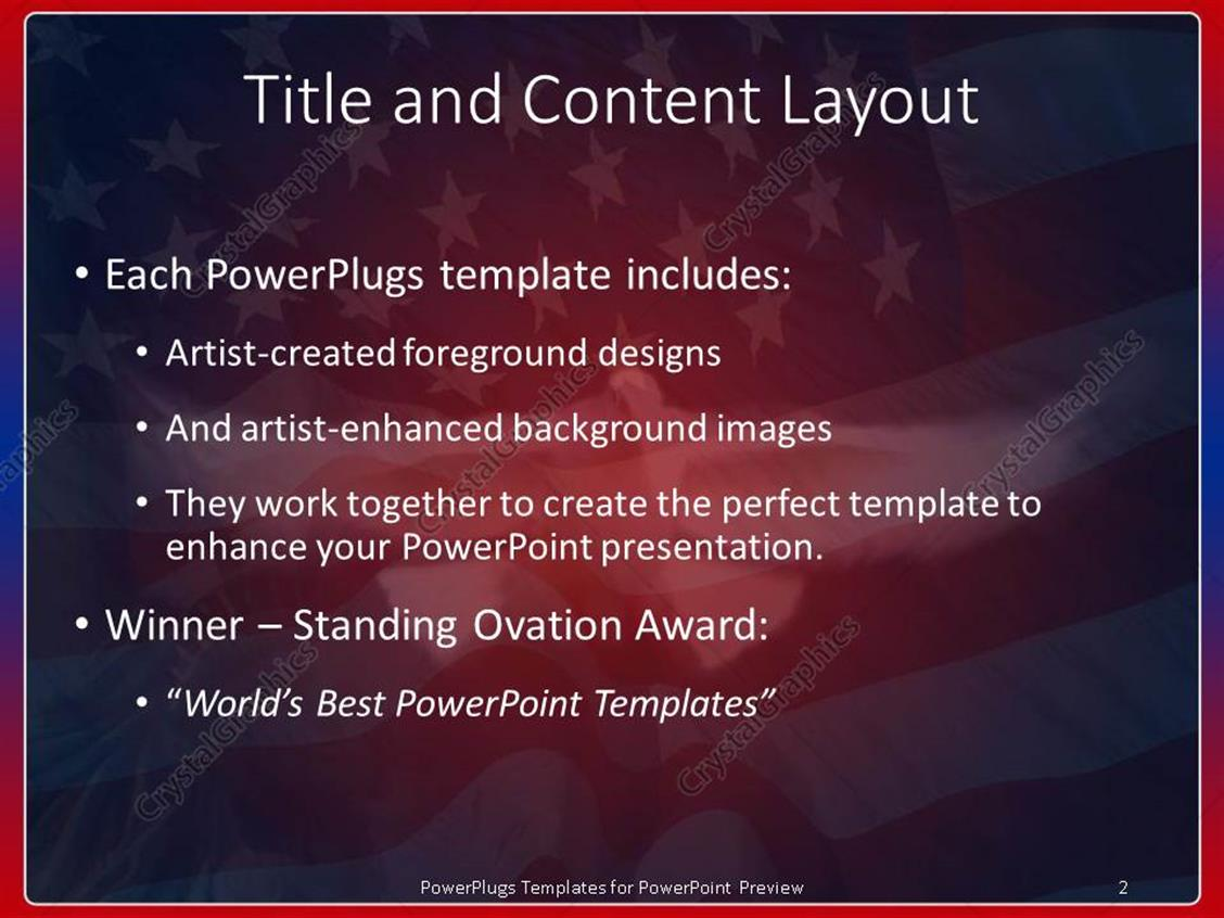 powerpoint template: american symbols with waving flag of united, Powerpoint templates