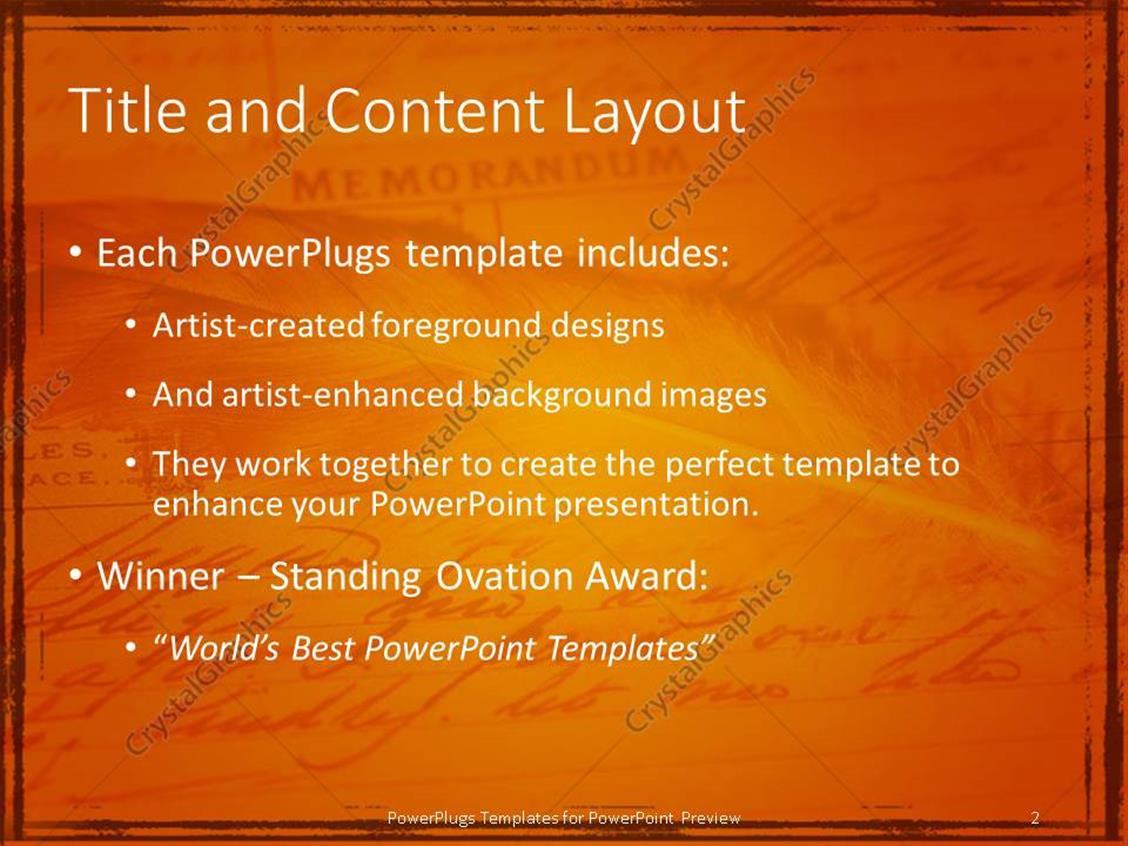 powerpoint template: ancient feather on old memorandum document, Presentation templates