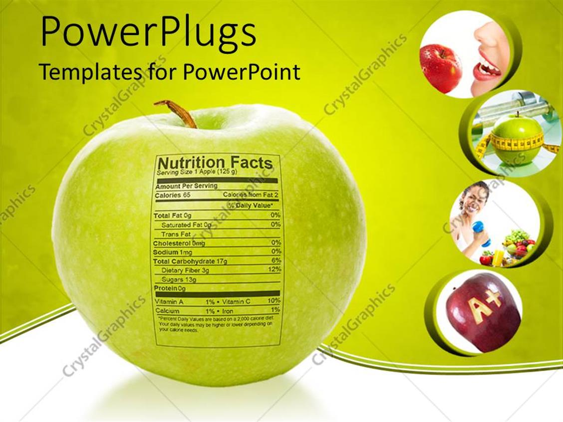 powerpoint template apple nutrition facts apple with