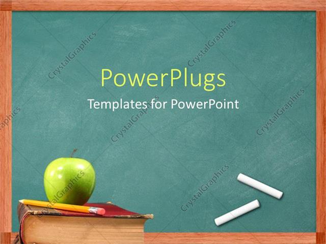 Powerpoint template apple and pencil on book in front of powerpoint template displaying apple and pencil on book in front of chalkboard toneelgroepblik Image collections
