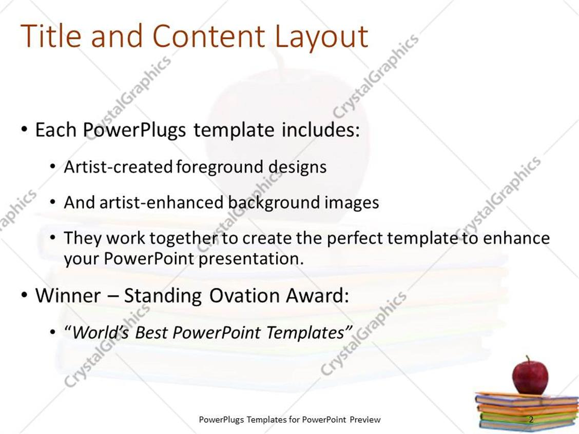 powerpoint template: apple and pencil laying on pile of several, Presentation templates