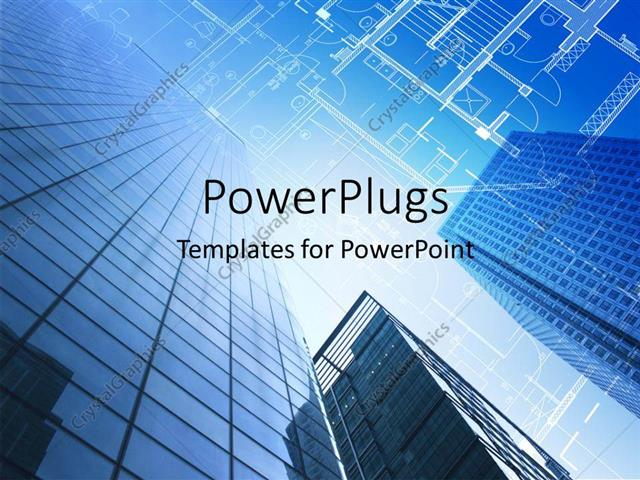 Powerpoint template architectural design and floor plan with sky powerpoint template displaying architectural design and floor plan with sky scraper in blue sky toneelgroepblik Images