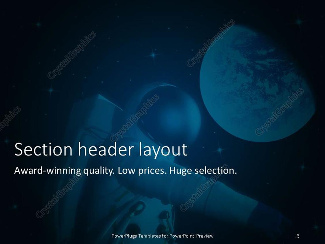 powerpoint template: an astronaut with a planet in the background, Presentation templates