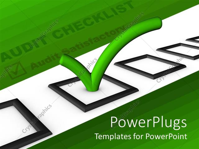 PowerPoint Template audit checklist with green tick in bright – Audit Checklist Template