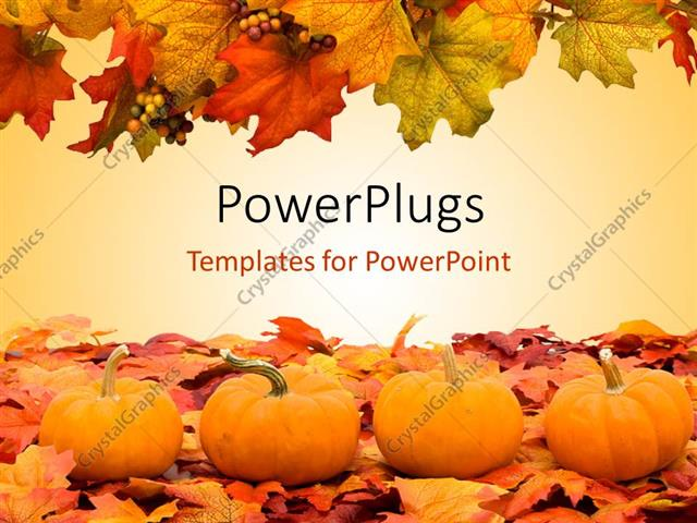 powerpoint template autumn fall colored leaves with pumpkins, Powerpoint