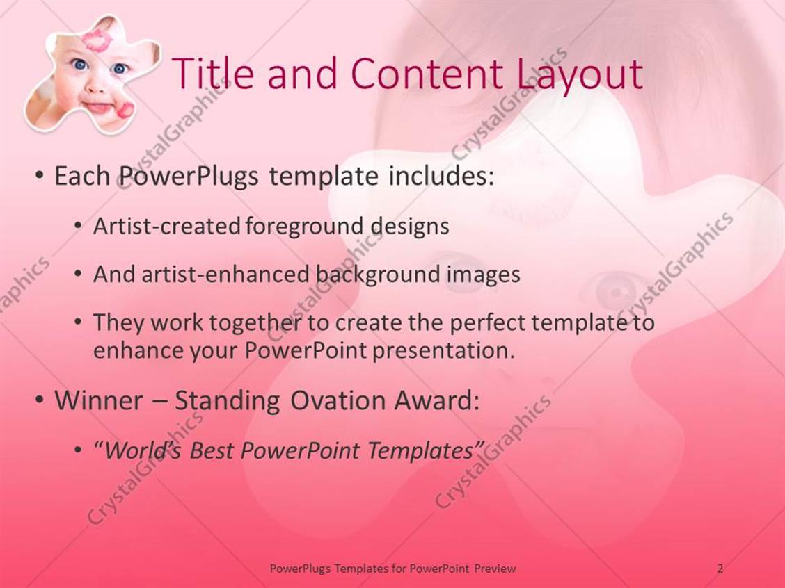 powerpoint template: baby with red lip prints on cheek and head (2576), Modern powerpoint