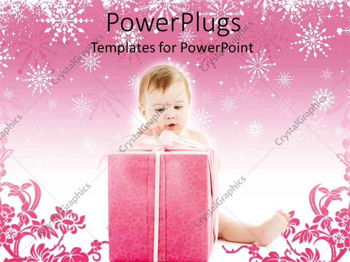 PowerPoint Template Displaying Baby Sitting and Holding a large Pink Gift on a Pink Background