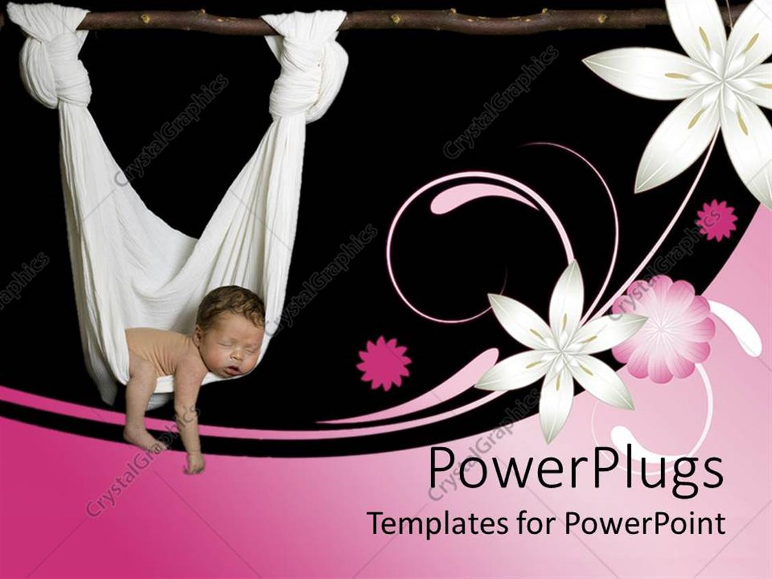 PowerPoint Template Displaying Baby Sleeping in a White Hammock with Pink and White Flowers