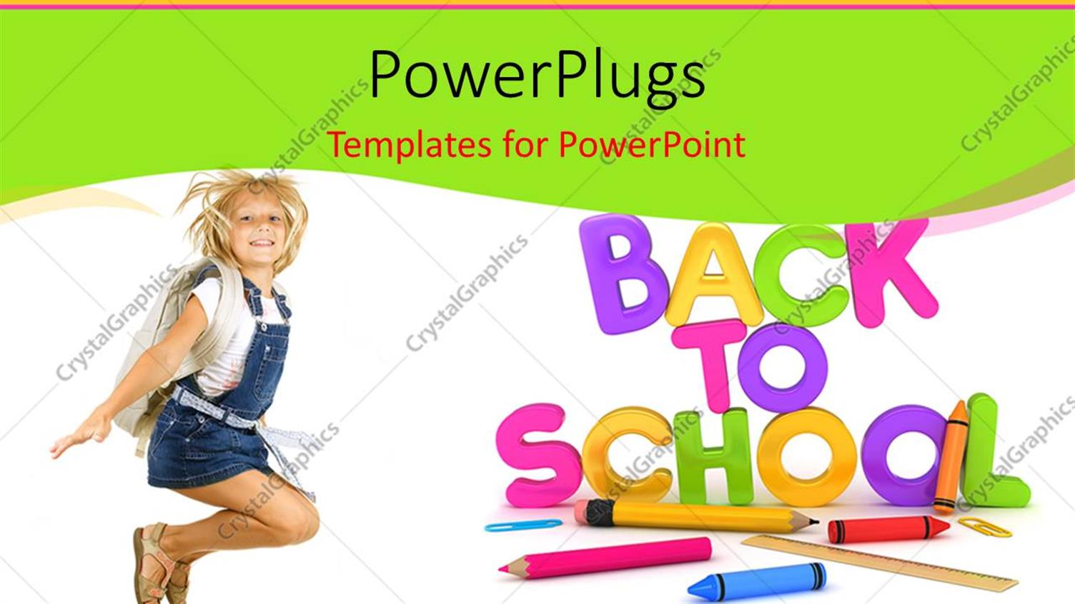 Powerpoint template learning depiction with school supplies and powerpoint template displaying learning depiction with school supplies and cute girl dressed for school toneelgroepblik Choice Image