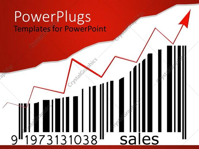 PowerPoint Template Displaying Bar Code with Red Arrow Showing Upward Sales Growth Against White Background