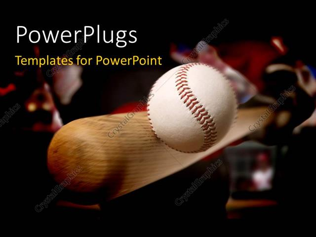 powerpoint template: baseball bat making contact with ball (2895), Powerpoint templates