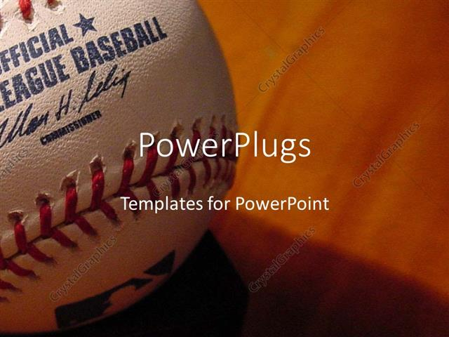 Powerpoint Template: A Baseball In A Closeup With Brownish