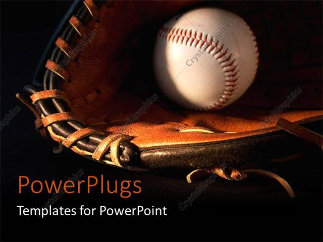 Powerpoint Template: A Baseball And Glove With Blackish Background