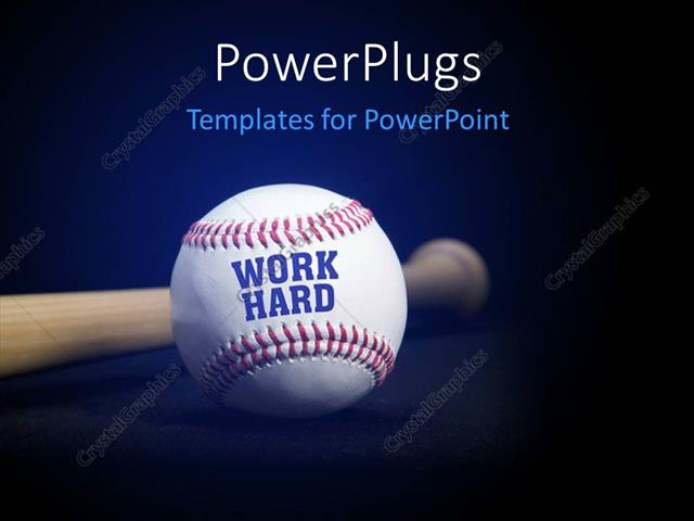 powerpoint template baseball with text work hard over blue and black background 31593. Black Bedroom Furniture Sets. Home Design Ideas
