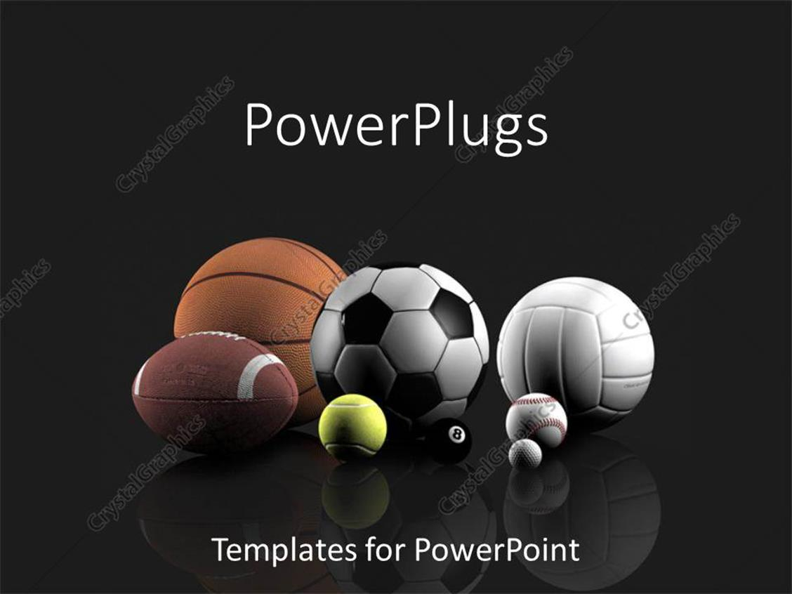 powerpoint template basketball football tennis volleyball golf pool and baseball sports. Black Bedroom Furniture Sets. Home Design Ideas