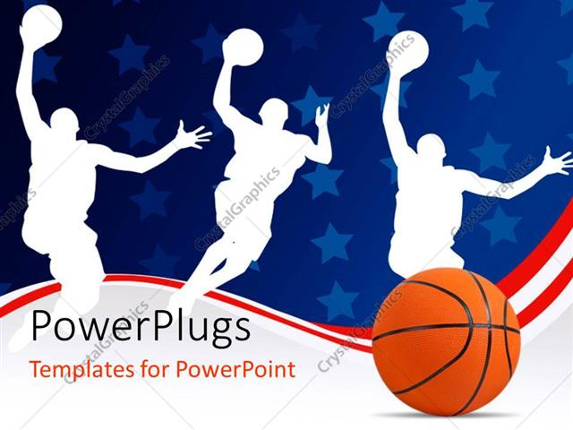 Powerpoint Template: Basketball With Silhouette Of Basket Players