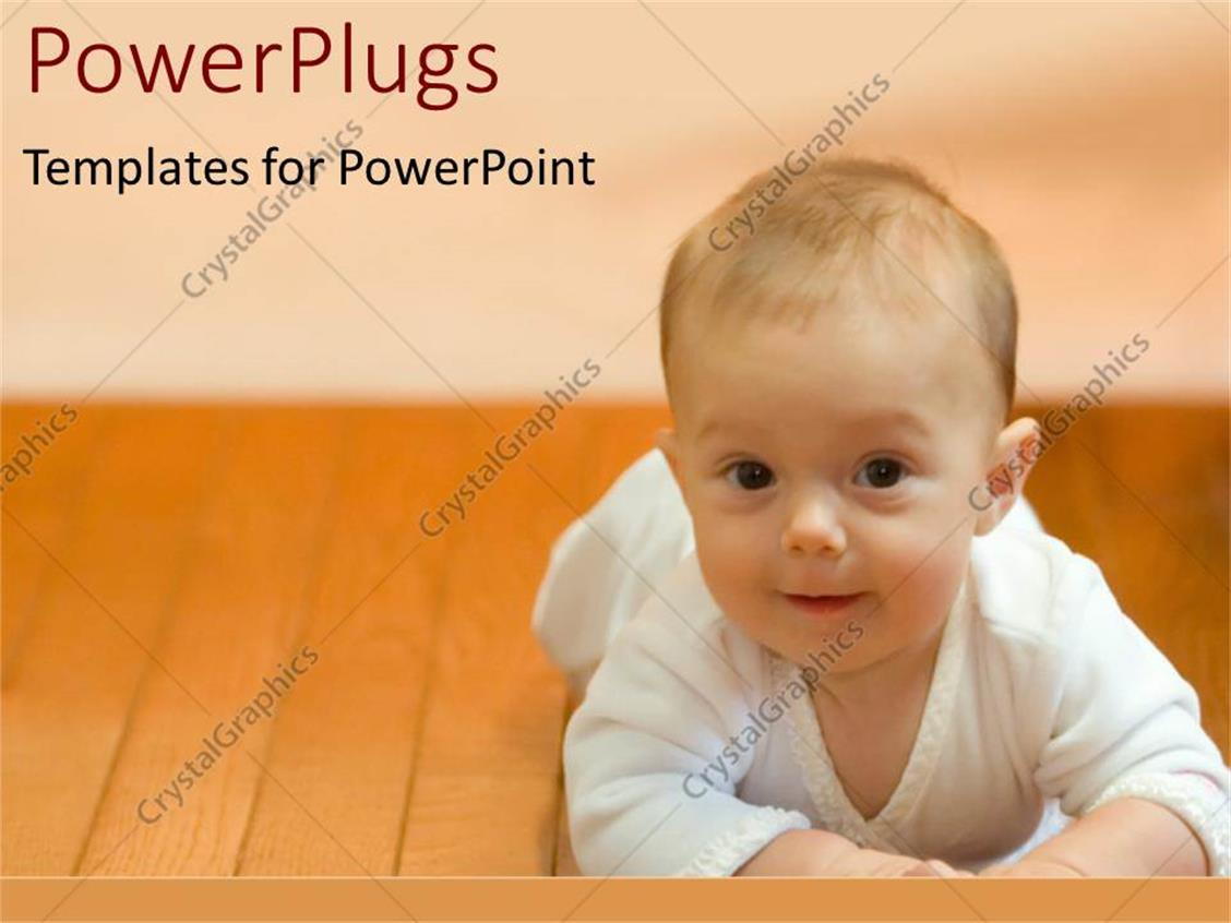 PowerPoint Template Displaying a Beautiful Baby Lying on a Wooden Floor with Pinkish Background