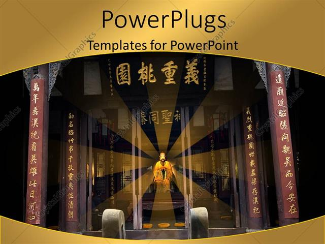 powerpoint template: beautiful chinese memorial temple with king, Presentation templates