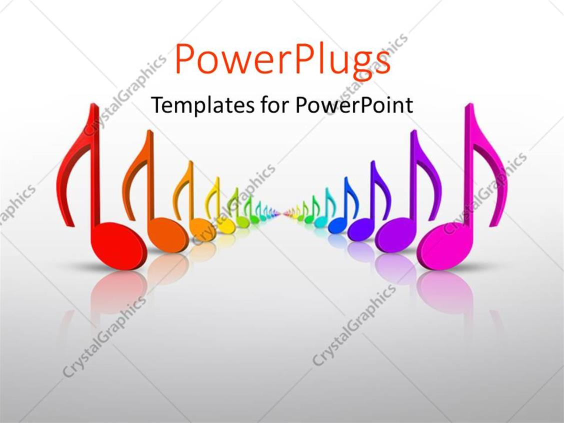 PowerPoint Template Displaying Beautiful Colorful 3D Rainbow Music Notes in Many Colors with Grey Color