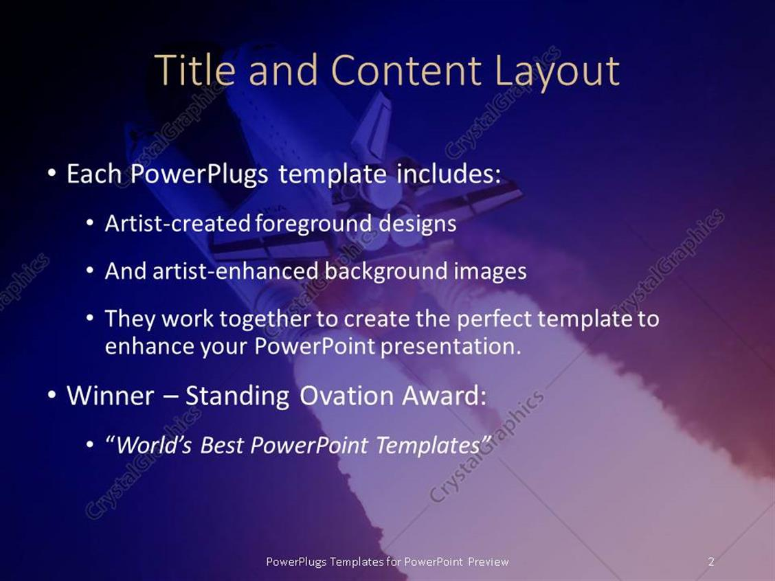 powerpoint template: a beautiful depiction of a space shuttle, Presentation templates