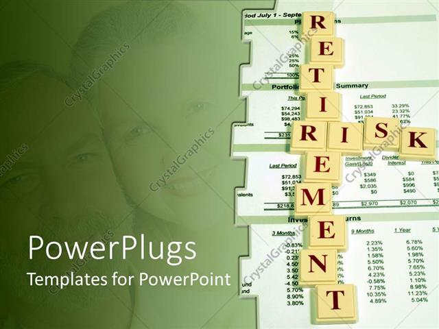 powerpoint template: a beautiful depiction of the words retirement, Modern powerpoint