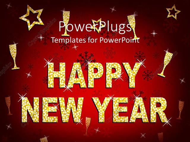 powerpoint template a beautiful happy new year background with, Powerpoint