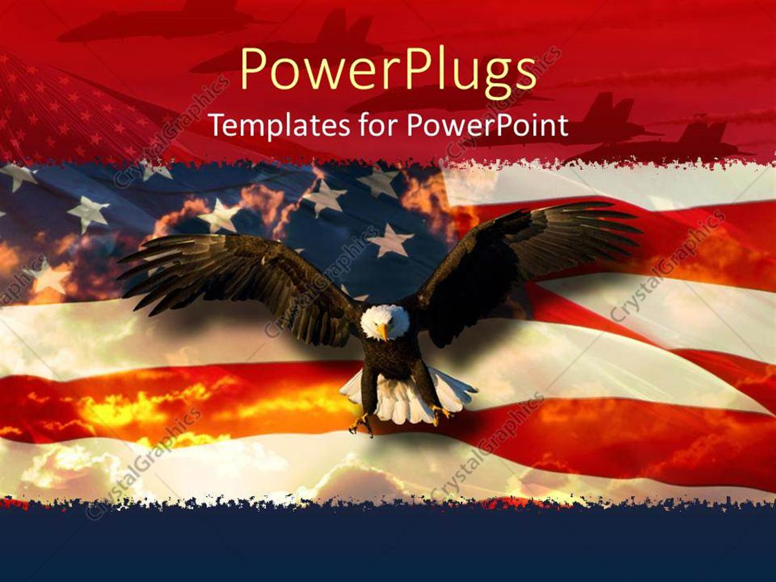powerpoint template a beautiful hawk with an american flag in the background 1687. Black Bedroom Furniture Sets. Home Design Ideas