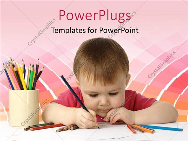 PowerPoint Template Beautiful Kid Drawing With Colored